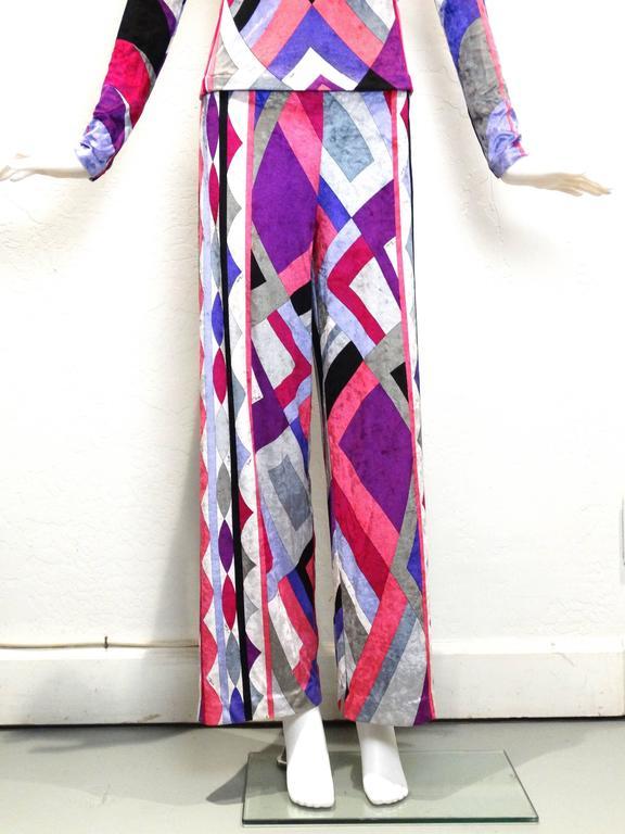 1990s Emilio Pucci Velveteen Pant Suit In Excellent Condition For Sale In Scottsdale, AZ