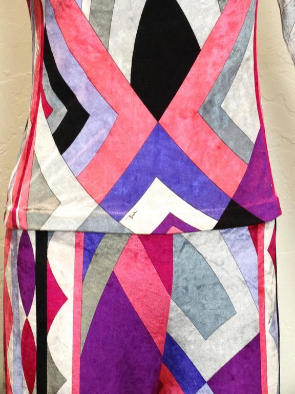 1990s Emilio Pucci Velveteen Pant Suit For Sale 1