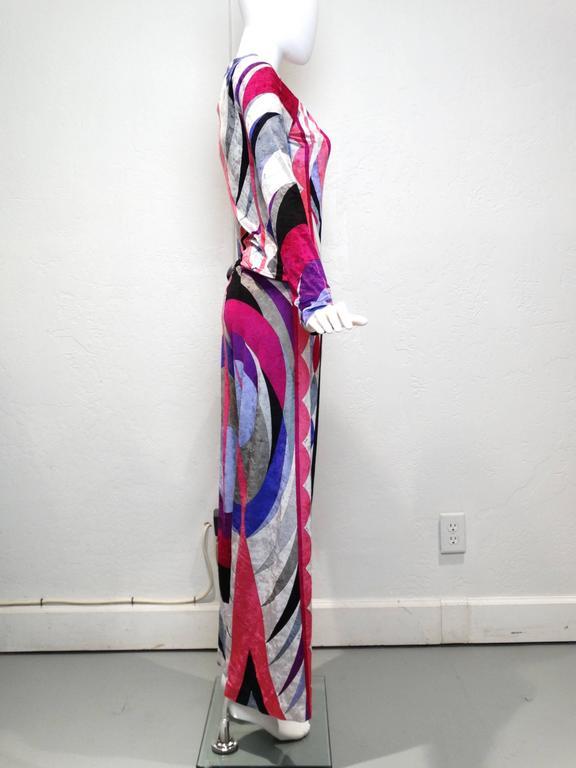 Women's 1990s Emilio Pucci Velveteen Pant Suit For Sale