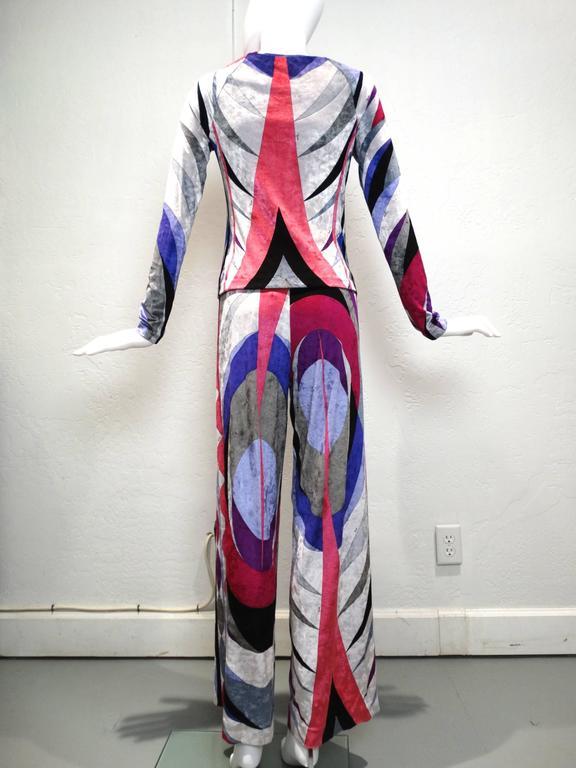 1990s Emilio Pucci Velveteen Pant Suit For Sale 3