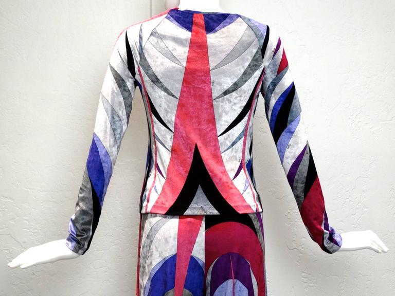 1990s Emilio Pucci Velveteen Pant Suit For Sale 4