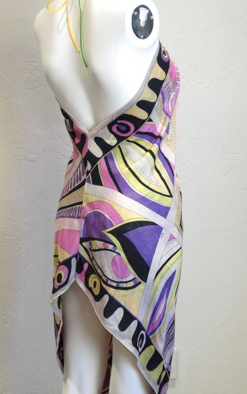 1960s Emilio Pucci Silk Crepe De Chine Halter Dress For Sale 2