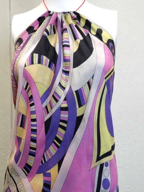 1960s Emilio Pucci Silk Crepe De Chine Halter Dress In Excellent Condition For Sale In Scottsdale, AZ