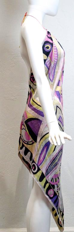 1960s Emilio Pucci Silk Crepe De Chine Halter Dress For Sale 3