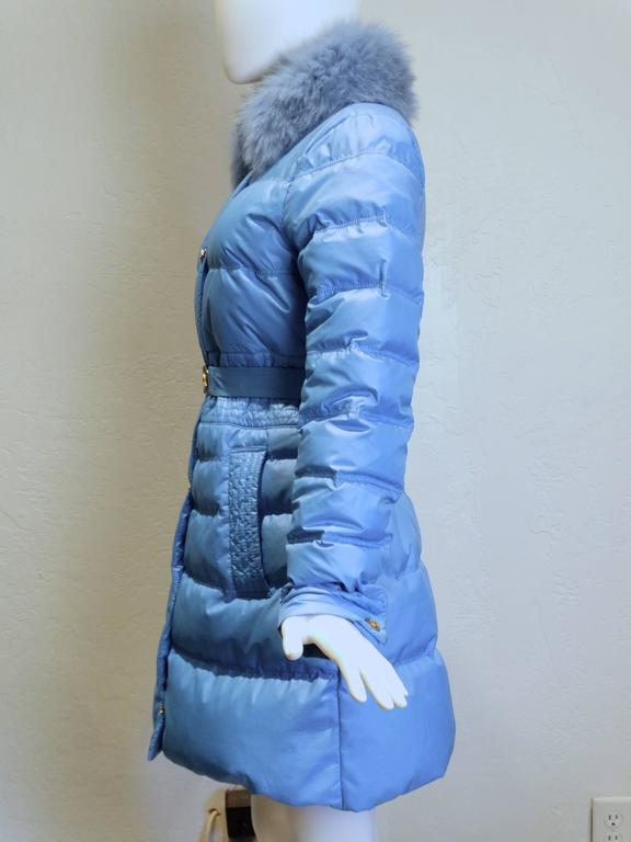 2013 Versace Collection Puffer Jacket with Fur Collar  In Excellent Condition For Sale In Scottsdale, AZ