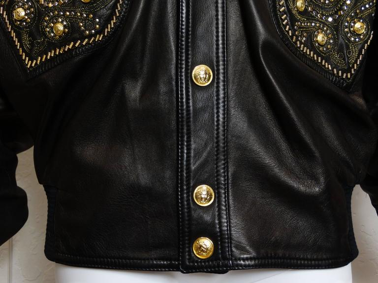 1990s Gianni Versace Couture Motorcycle Jacket  In Excellent Condition For Sale In Scottsdale, AZ