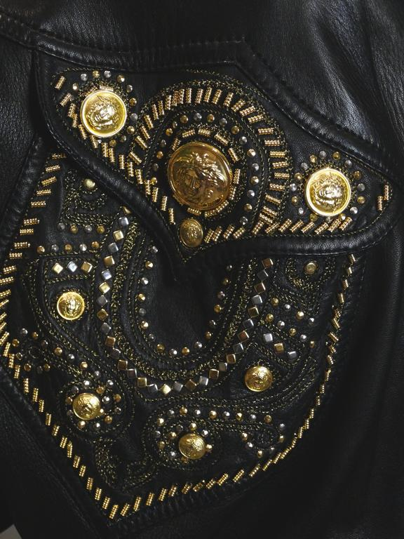 Black 1990s Gianni Versace Couture Motorcycle Jacket  For Sale