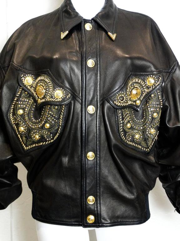 Women's or Men's 1990s Gianni Versace Couture Motorcycle Jacket  For Sale