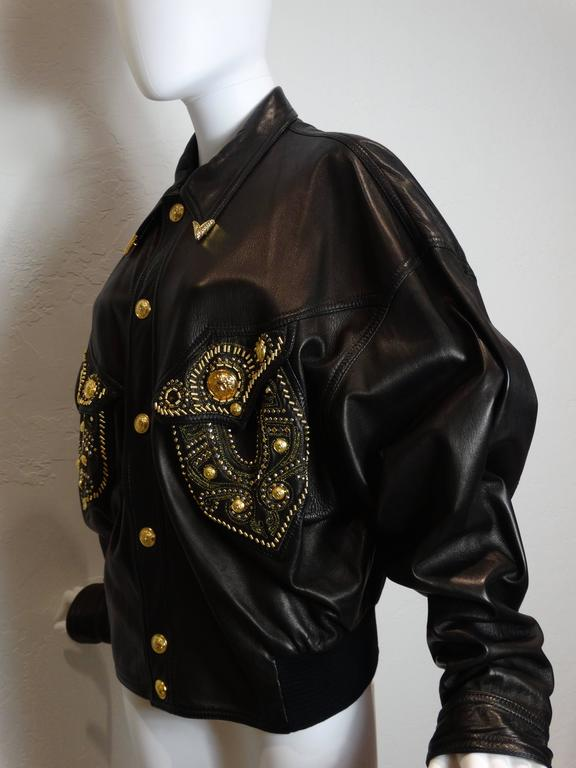 1990s Gianni Versace Couture Motorcycle Jacket  For Sale 2