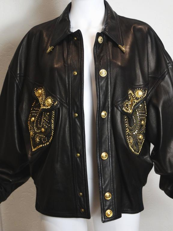 1990s Gianni Versace Couture Motorcycle Jacket  For Sale 5