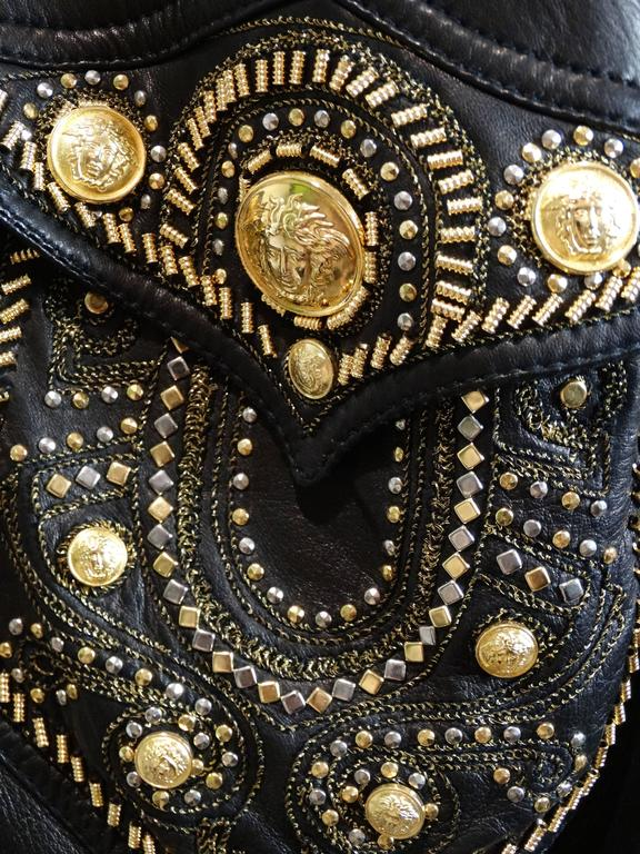 1990s Gianni Versace Couture Motorcycle Jacket  For Sale 4