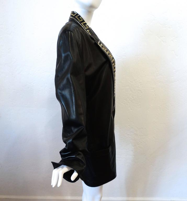 1990s GIANNI VERSACE COUTURE 1992 Black studded GREEK KEY Leather Jacket  7