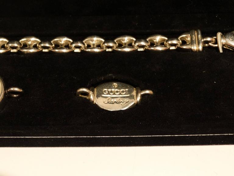 Women's 1980s Gucci Sterling Silver Mother of Pearl Watch with Silver Gucci Charm  For Sale