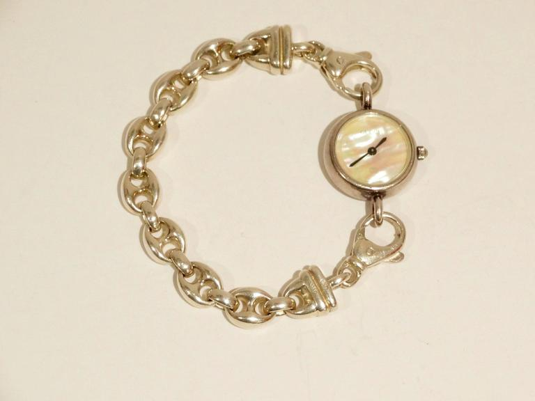 1980s Gucci Sterling Silver Mother of Pearl Watch with Silver Gucci Charm  In Good Condition For Sale In Scottsdale, AZ