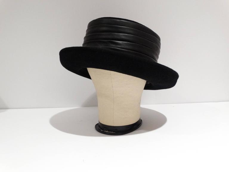 1980s Kokin Black Leather Band Top Hat  6