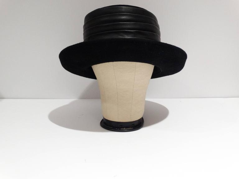 1980s Kokin Black Leather Band Top Hat  2