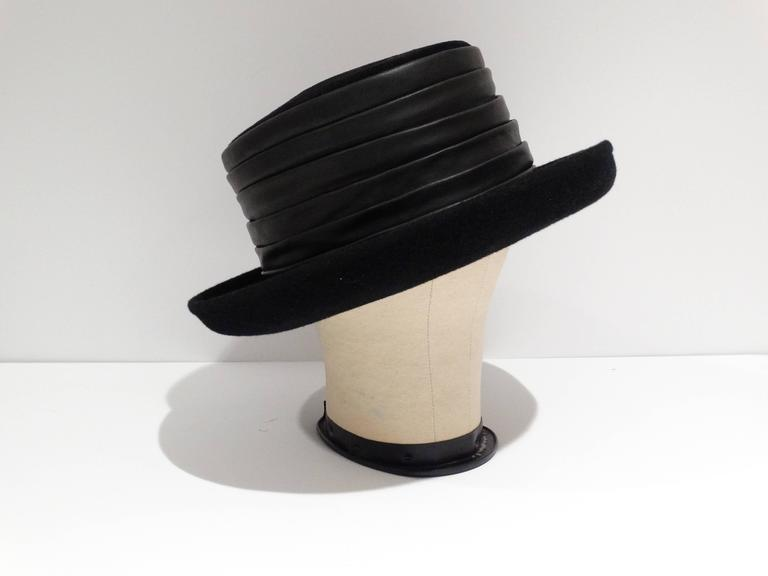 1980s Kokin Black Leather Band Top Hat  3