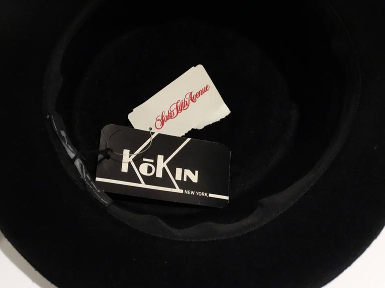 1980s Kokin Black Leather Band Top Hat  7
