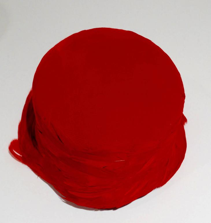 1950s Clover Lane Red Feathered Hat  For Sale 1