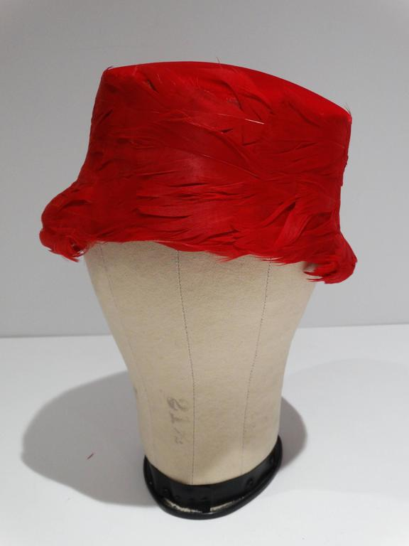 Women's 1950s Clover Lane Red Feathered Hat  For Sale