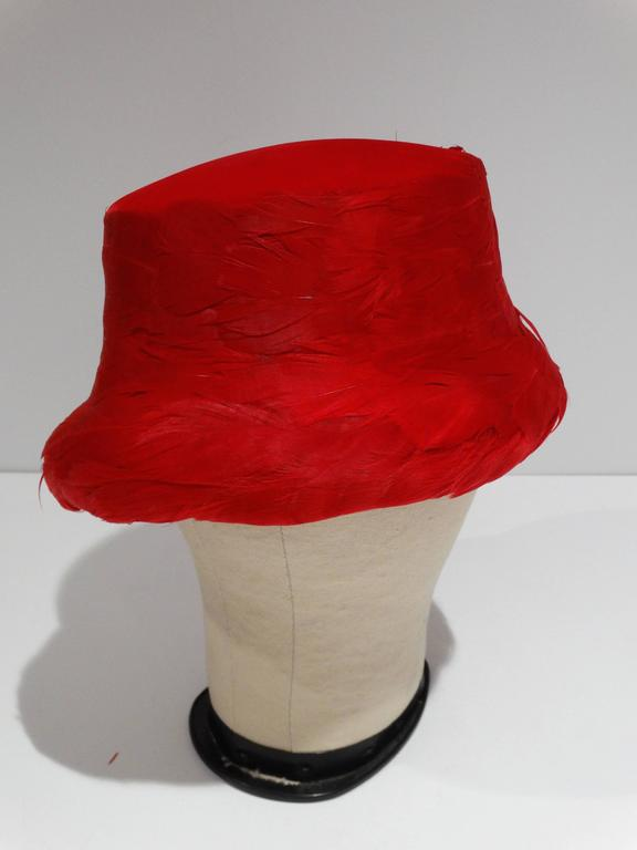 1950s Clover Lane Red Feathered Hat  For Sale 4