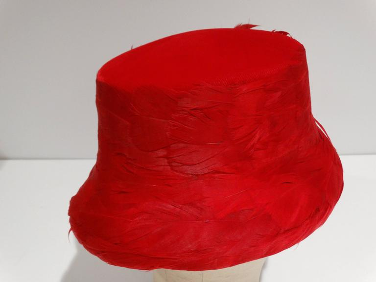 1950s Clover Lane Red Feathered Hat  For Sale 3