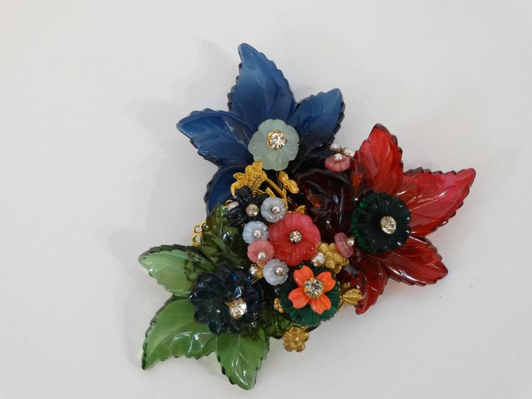 1960s William De Lillo Cameo Glass Floral Brooch  For Sale 3