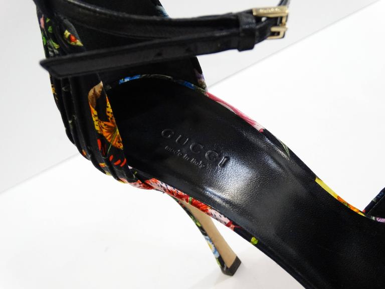 Gucci Flora Peep Toe Pumps 7