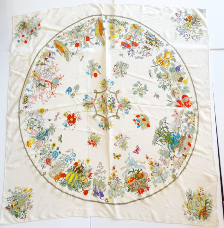 Beige Rare 1970s Gucci Flora Silk Scarf For Sale