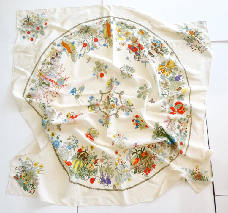 Rare 1970s Gucci Flora Silk Scarf For Sale 1