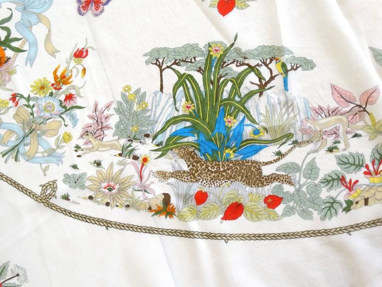 Rare 1970s Gucci Flora Silk Scarf For Sale 2