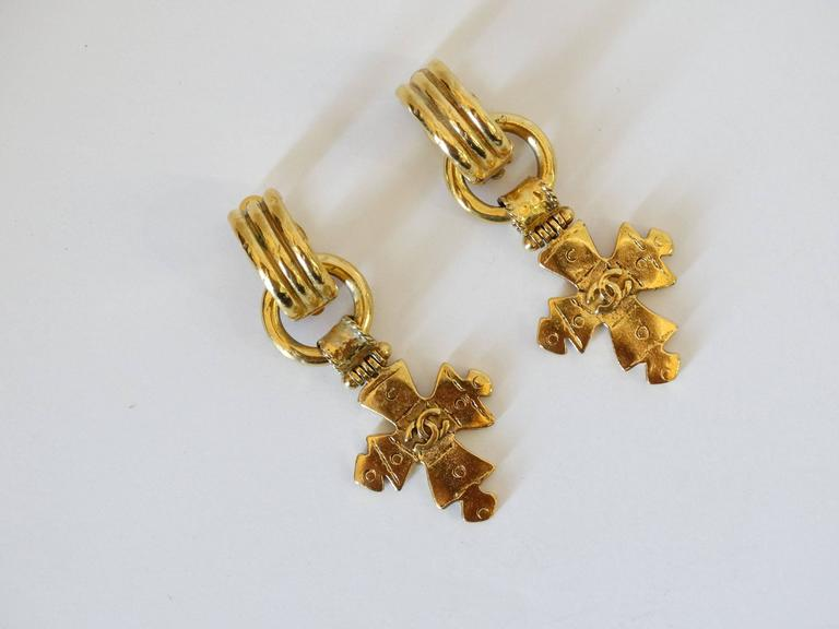 1994 CC Chanel Cross Earrings For Sale 4