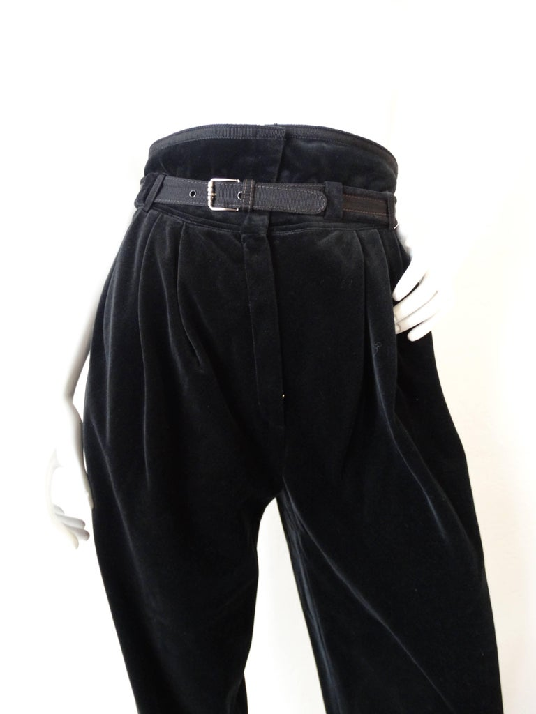 1980s Gianni Versace Velvet Riding Pants 9