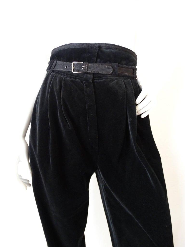 1980s Gianni Versace Velvet Riding Pants For Sale 4