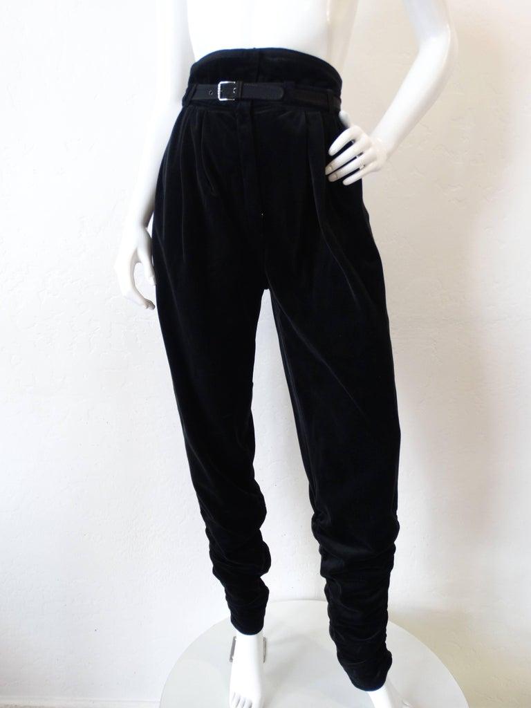 1980s Gianni Versace Velvet Riding Pants For Sale 3