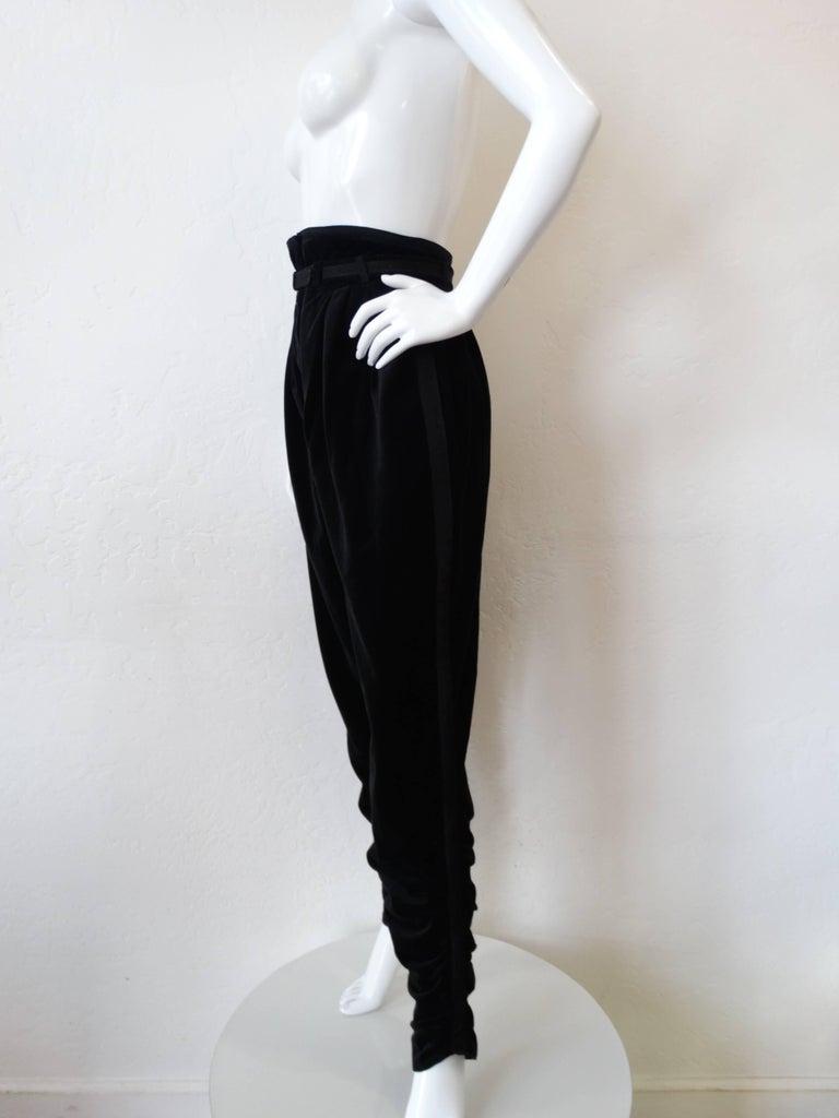 1980s Gianni Versace Velvet Riding Pants For Sale 2