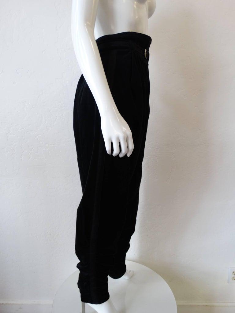 Black 1980s Gianni Versace Velvet Riding Pants For Sale