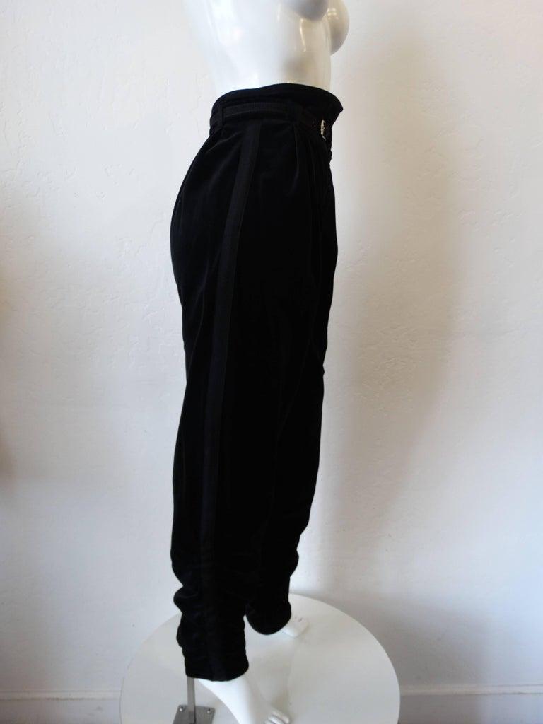 1980s Gianni Versace Velvet Riding Pants For Sale 5