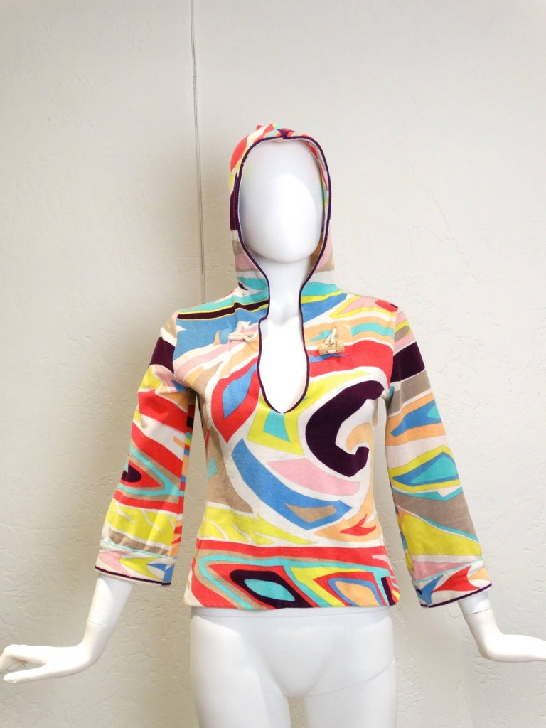 Beige Emilio Pucci Hooded Terry Cloth Pullover with Cork Toggle, 1980S  For Sale