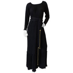 1970s Mary McFadden Black Fortuny Gown