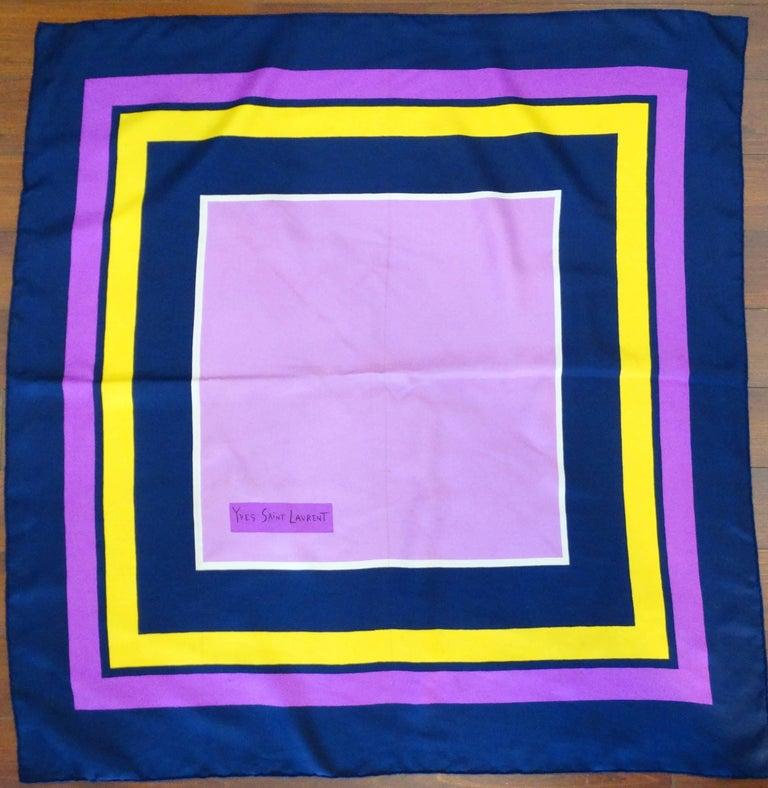 Yves Saint Laurent Color Block Silk Scarf, 1960s  For Sale 3