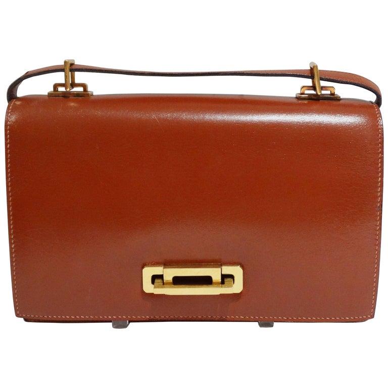 Hermes Leather Handbag Clutch, 1970s