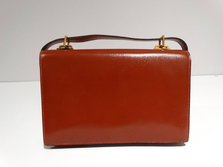 Brown Hermes Leather Handbag Clutch, 1970s  For Sale