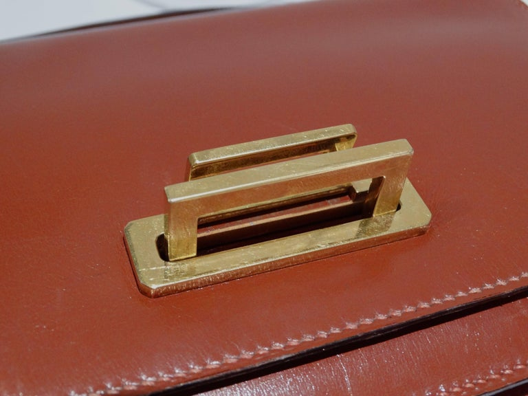 Women's Hermes Leather Handbag Clutch, 1970s  For Sale