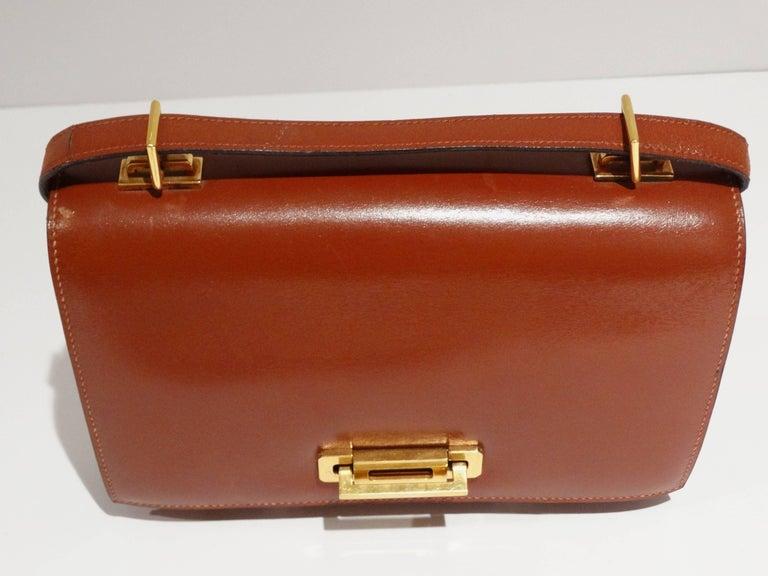 Hermes Leather Handbag Clutch, 1970s  For Sale 1