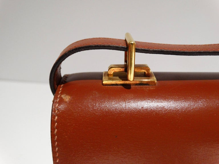 Hermes Leather Handbag Clutch, 1970s  For Sale 2