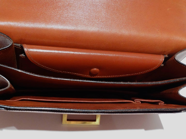 Hermes Leather Handbag Clutch, 1970s  For Sale 3