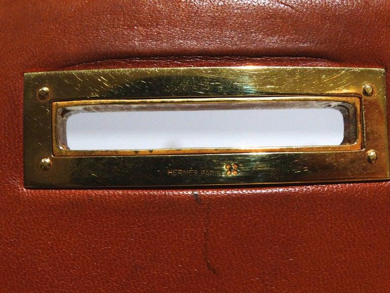 Hermes Leather Handbag Clutch, 1970s  For Sale 5