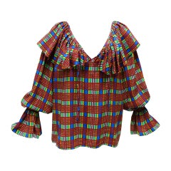 1970's Yves Saint Laurent Plaid Silk Peasant Blouse