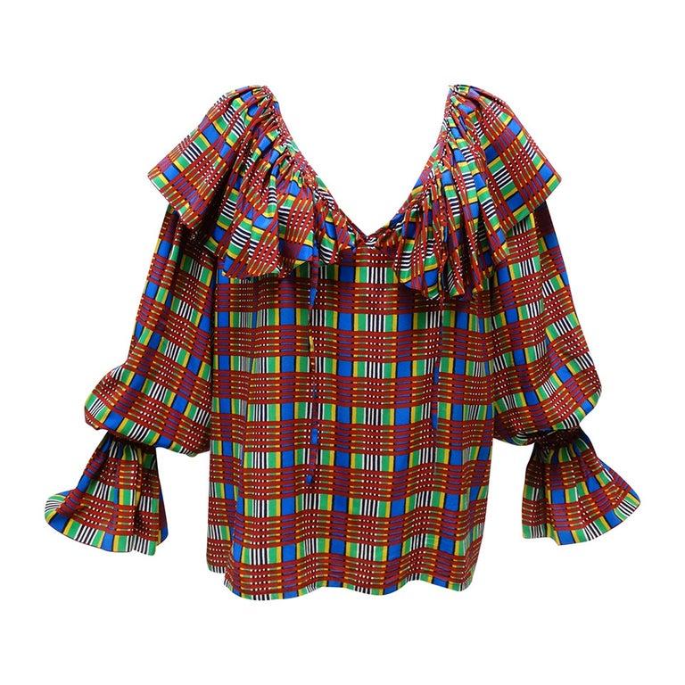 1970's Yves Saint Laurent Plaid Silk Peasant Blouse